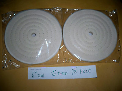 """2 -6"""" Buffing Polishing Wheel 1/2"""" thick 1/2"""" Hole spiral sewn For Bench Grinder"""