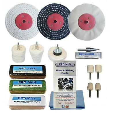 "Pro-Max Steel & Stainless Steel Deluxe Metal Polishing Buffing Kit 3"" x 1/2"""