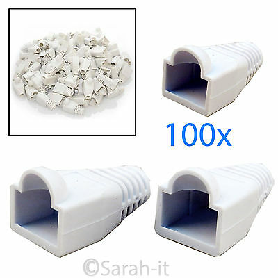 100x RJ45 Cat5 Cat6 Rubber Connector Boots For Ethernet Network Cable Crimp Plug