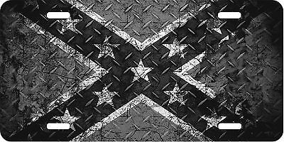 Rebel Flag, Confederate Flag, License Plate, Black and White Diamond Plate Look