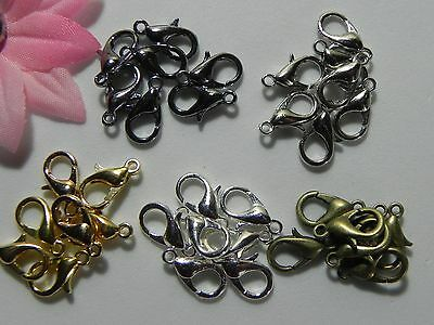 10 Silver Plated, Gunmetal, Bronze, Gold Plated Lobster Clasps Beads Findings