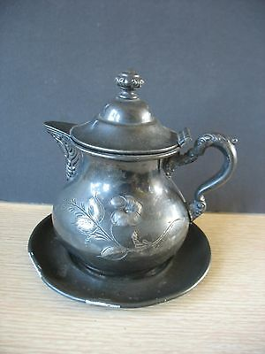 Victorian ROGERS Silver plated covered creamer pitcher Quadruple plate