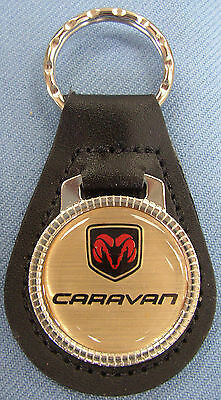 Vintage Gold Dodge CARAVAN Leather USA Keyring 1990 1991 1992 1993 1994 1995