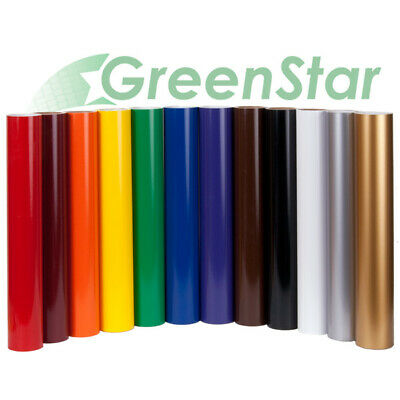 "GreenStar Sign Vinyl 24"" x 5Yd 12-Color BUNDLE Self Adhesive Backed USA Made 6yr"