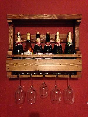Rustic Solid Wood Pallet Wine Rack 6 bottle with Rack Glass Holder