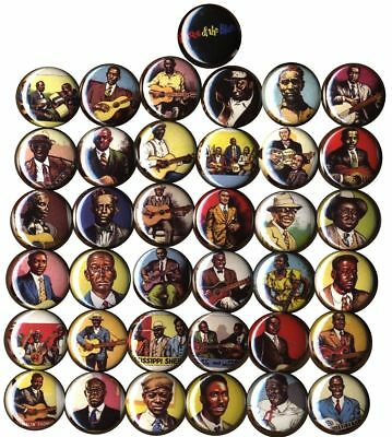 Complete Heroes of the Blues set of 37 Buttons-Pins-Badges  R. Crumb Cards