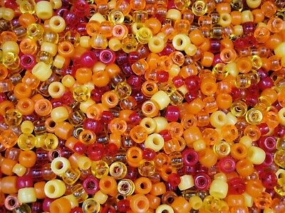 Pony Beads 500pcs Orange/Red/Yellow Mix Kids Hair Beading Jewelry FREE POSTAGE