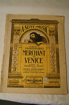 Vintage - Sheet Music - A Suite of Music incidental to Shakespeare.