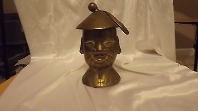 Vintage Solid Brass Chinese Man Statue HEAVY-Hat is a lid - holds incense candle