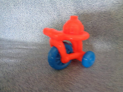 Miniature Plastic Toy Tricycle Dollhouse Accessory Orange / Blue Tires 2 1/2""