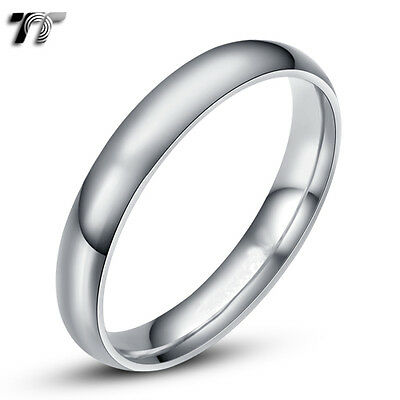 TTstyle 4mm 18K White Gold Plated Plain Rounded Wedding Band Ring Size 5-12 NEW