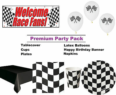 Chequered Flag Racing 8-48 Guest Premium Party Pack - Tableware and Decorations