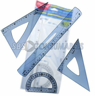 Maped 4 Piece 30Cm Geometry Set. Blue Tint (242830) Ruler, Protractor School