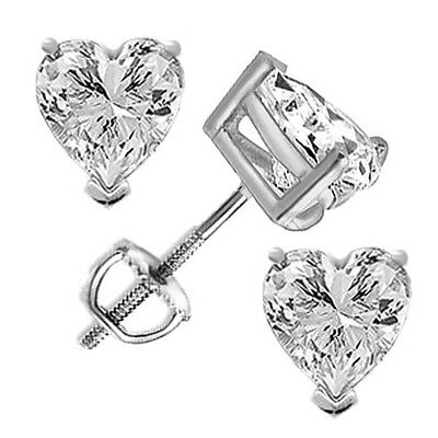 56e0f367e Heart Cut Solitaire Stud Earrings Solid 14k White Gold 1.5ct Screw Back  Jewelry