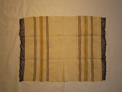 Antique Hand Woven and Hand Embroidered Linen Towel Lace Unused