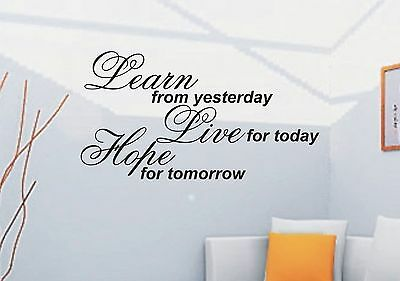 Learn From Yesterday Inspirational Quote Wall Sticker WS-32397