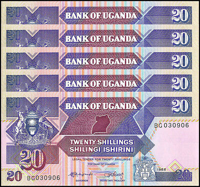Uganda 20 Shillings X 5 Pieces - PCS, 1988,  P-29b, UNC