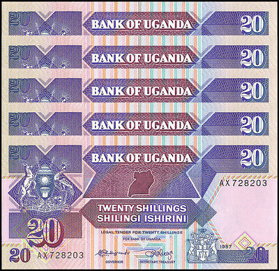 Uganda 20 Shillings X 5 Pieces (PCS), 1987,  P-29a, UNC