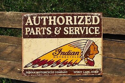 Indian Motorcycle Company Tin Metal Sign - Authorized Parts & Service - Retro