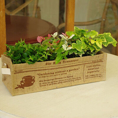 Little Garden Vintage basket box storage jute baskets plants cover beans Large