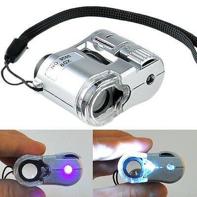 Mini Jeweller 60X Zoom Pocket Microscope Jewelry Magnifier Loupe Glass LED Light