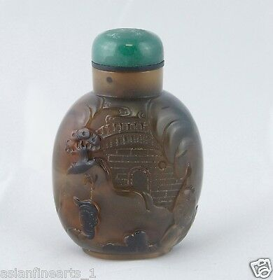 Qing Dynasty Old Natural Agate Raised Carving Snuff Bottle Chinese Antique #406
