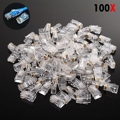 100x RJ45 Network  Lan Cat5 Cat5e Cable Connectors Ethernet Crimp End Plugs