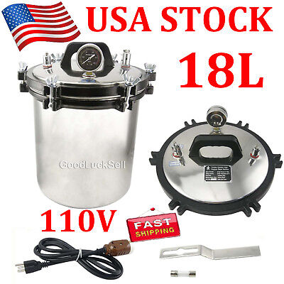 18L Autoclave Sterilizer Stainless Steel Steam Medical sterilization 110V in USA