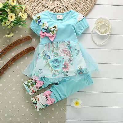 New Floral Baby Girls Toddler Clothing Set Short Sleeve Top + Pants 2 Pcs/Suit