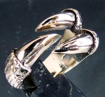 BRONZE RING DRAGON TALON THREE 3 CLAW GOTHIC CELTIC ANTIQUED MEDIEVAL ANY SIZE
