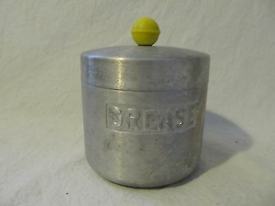 Vintage Aluminum Grease Can Kitchen Canister Yellow Knob Turner Houston Texas
