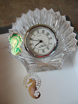 reduced     WATERFORD CRYSTAL SILVER CLOCK IN SHELL CRYSTAL NEW IN BOX UNUSED