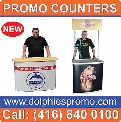 Promotional Demo Counter Trade Show Pop Up Display Portable Kiosk FREE Printing
