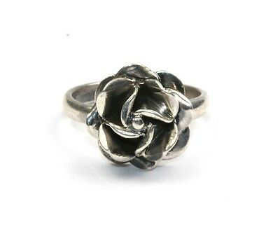 925 STERLING SILVER, VINTAGE ROSE BUD FLOWER 3D SHAPED RING, MADE IN MEXICO