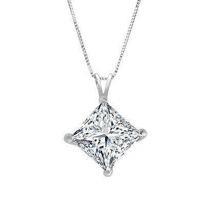 Princess Cut Necklace 14k Solid White Gold Solitaire Pendant 2.0 ct Jewelry Gift