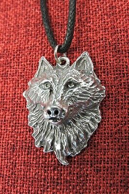 Wolf Head Fenris Viking Thor Norse Pewter Pendant Waxed Cotton Cord Necklace