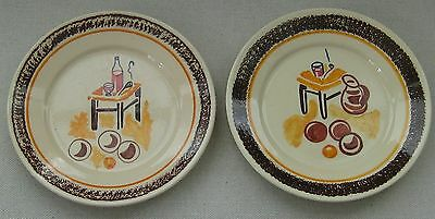 Pair of Vintage HB Quimper French Pottery Plates Stylized Design