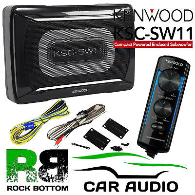CLARION SRV313 120 Watts Active Amplified UnderSeat Car Sub Subwoofer & Wiring