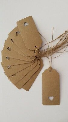 100 x Large Rectangle - Heart Cut Out - Natural Kraft Gift Tags - Scalloped Top