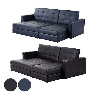 HOMCOM Sectional Sofa Couch Bed Loveseat Daybed Storage Box Faux Leather