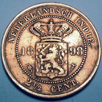 1898 Netherlands East Indies 2-1/2 Cents - Km#308