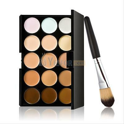 New 15 Colors Contour Face Cream Makeup Concealer Palette + Powder Brush #3YE