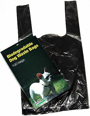 100 DOG PET WASTE POOP BAGS WITH HANDLES Black by Petoutside