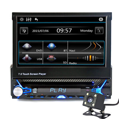 """7"""" FLIP OUT CAR AUDIO TOUCHSCREEN RECEIVER DVD CD iPod PLAYER RADIO BLUETOOTH SD"""