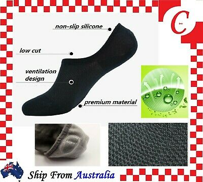 6Prs Men Mens Bamboo Non-slip Heel Grip Low Cut No Show Socks Footlet Invisible