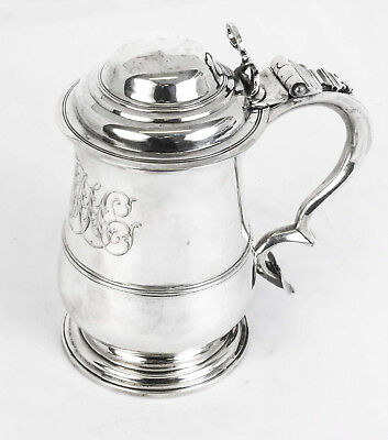 Antique English George III Silver Tankard 1762