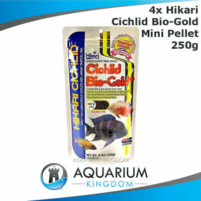 4x Hikari Cichlid Bio-Gold+ 250g MINI 3mm Pellets Floating Tropical Fish Food