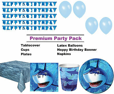 Great White Shark 8-48 Guest Premium Party Pack - Tableware | Decorations