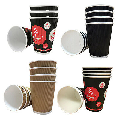Belgravia Black Kraft and Red/Blk Ripple Cups Mocha,latte Cappo,Choc,Tea