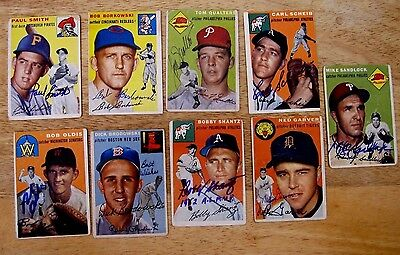 Lot of 9 different signed/autograph vintage original 1954 TOPPS Baseball Cards